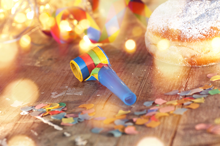 fasnacht: Carnival motif with donuts and bokeh for a party