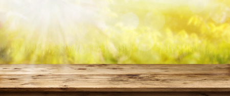 Landscape panorama with sun in spring in front of a rustic wooden table Standard-Bild