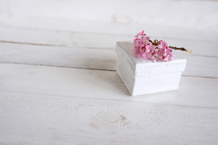 depth of field: Pink blossoms with a small gift on white wood for greetings Stock Photo