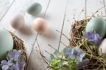 eastertime: Easter still life with a nest in vintage style for greetings Stock Photo