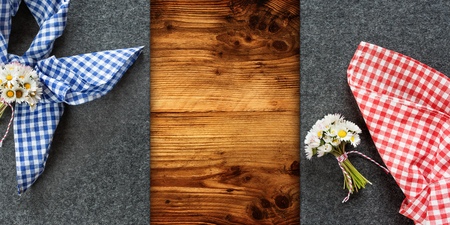 Decoration on a rustic wooden table for an Oktoberfest concept