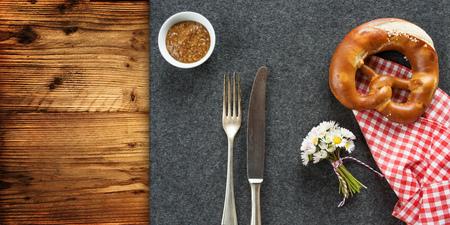 daisys: Bavarian covered table for an oktoberfest background Stock Photo