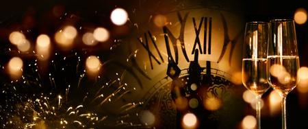 Background for new year congratulations with champagne and firework