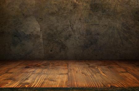 Antieke betonnen muur met rustieke houten vloer voor een concept