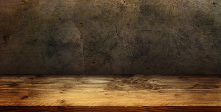 Old concrete wall with rustic wooden floor for a decoration Stock fotó