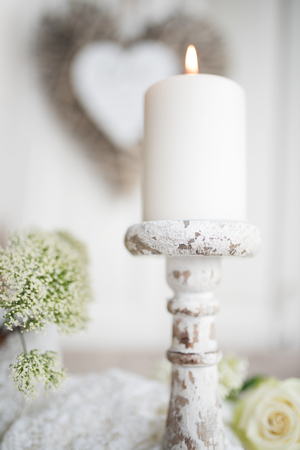 Bright tender decoration with heart and candle for valentines day