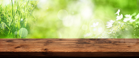 Bright green spring background with out of focus flowers and empty rustic wooden table for a decoration Standard-Bild
