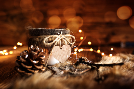 Winter decoration in country house style with golden bokeh