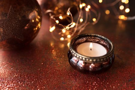 Festive christmas still life in bright copper colors