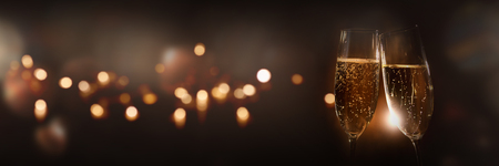 Golden champagne to celebrate with festive bokeh