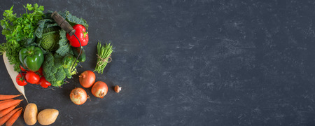 Healthy vegetables on a gray slate plate for a backround