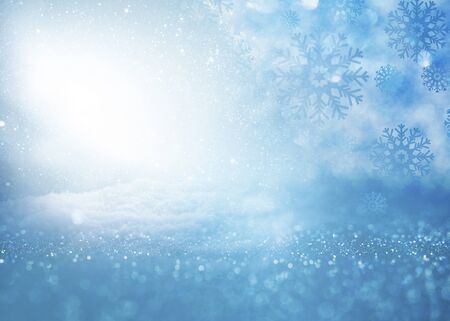 Cold blue winter background with snow and stars for a christmas decoration Stok Fotoğraf - 129995793