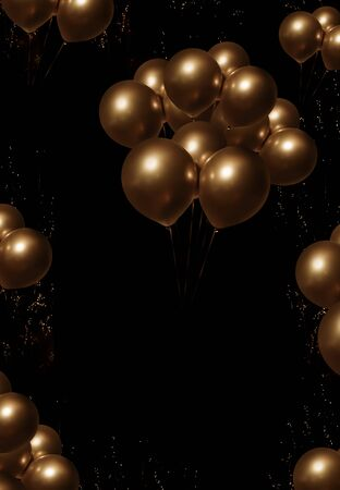 Bunch of golden balloons on night sky for a background