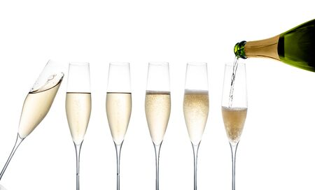 Gallerie champagne flutes isolated on white background