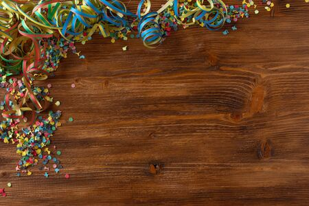 Flat lay photography with colorful carnival accessories. Stockfoto