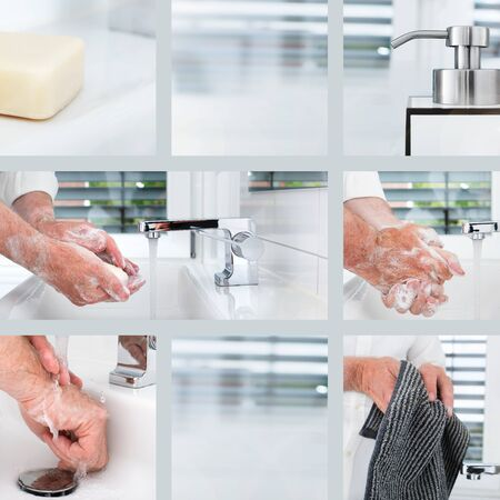 Wash hands thoroughly with soap and hot water. Protection against coronavirus through frequent hand washing. Square collage for a hygiene concept.