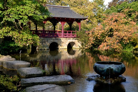 Japanese garden in autumn with bridge over lake photo