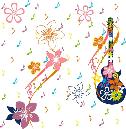 floral greeting card, musical card Illustration