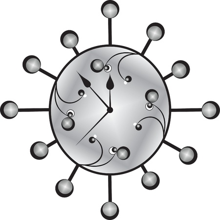 clock background, on a white background metallic hours Illustration