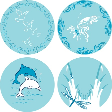 series of four decorative animal Vector