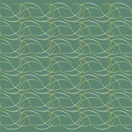 Gold stripes on a green background,elegant wall panel Illustration