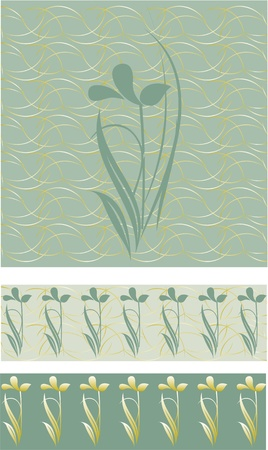 Elegant floral gold stripes on the floor,floral border on a green background
