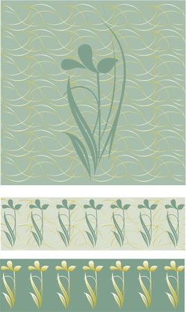 Elegant floral gold stripes on the floor,floral border on a green background