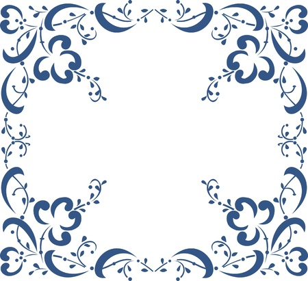 Blue floral frame on white background, floral greeting card