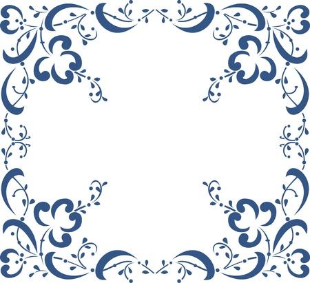 Blue floral frame on white background, floral greeting card