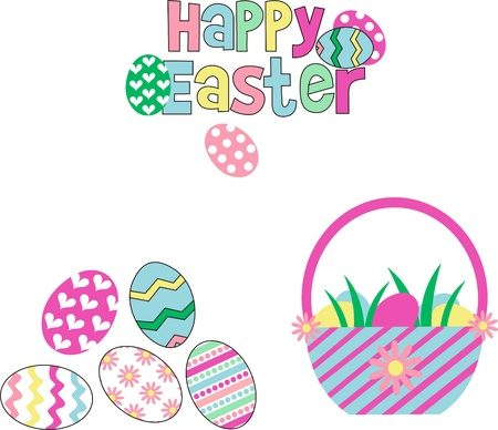 Easter eggs on a white background,colored eggs in a basket,Happy Easter greeting card writing