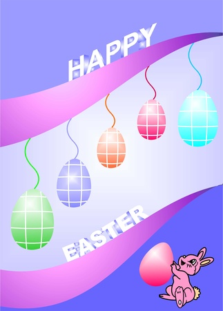 Happy easter greeting card, plays a happy bunny and eggs,decorative eggs