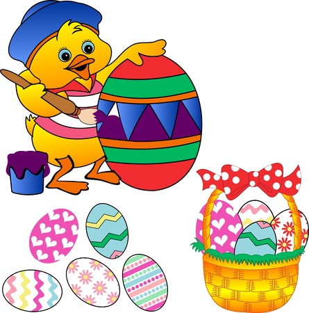 Chick egg dye,colored easter eggs,elegantly colored eggs in a basket