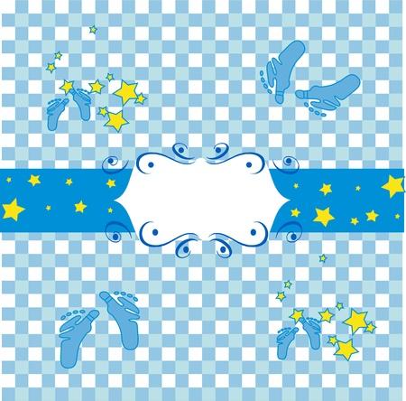 children s feet: Blue houndstooth fabric, decorative feet on the,children s room wallpaper