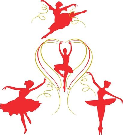 Girls dancing ballerina,ribbons dancing ballerinas, greeting card