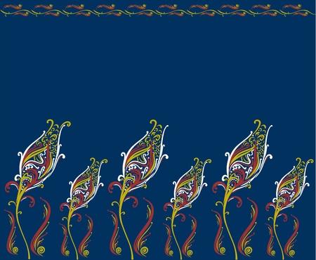 Clasic ottoman design, ottoman tulips on a dark blue background