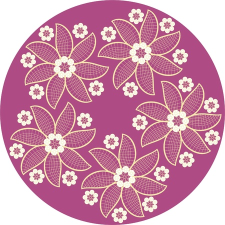 Lace flowers on dark red background,elegant lace motifs