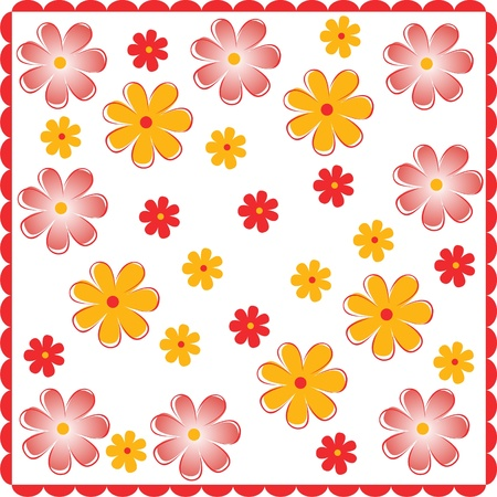 Bright yellow spring flowers above the ground,floral greeting card, floral seamless fabric pattern Illustration