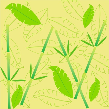 Light yellow bamboo on the floor,decorative leaves,bamboo pattern for summer season