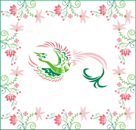 Surrounded by flowers and a phoenix, flowers on a white background
