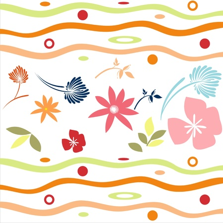 Flowers on a white background, elegant colorful spring flowers among the waves Illustration