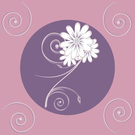 Flowers on a pink background, decorative floral pattern, Illustration