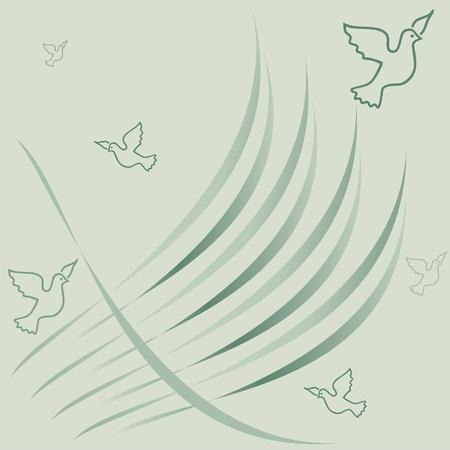 Birds on a green background, elegant spring pattern,birds greeting card