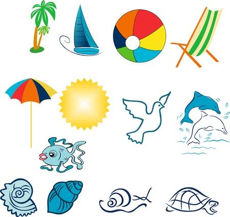 Objects to the coast,near the sea deck chairs, ball, turtle, sun, sea shell, umbrella
