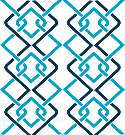 Turquoise blue wall panel,decorative knots on a white background