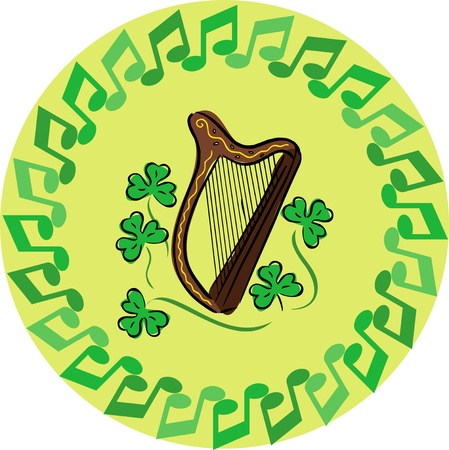 Saint patrick day greeting card, musical notes of the harp and the shamrock in the middle of
