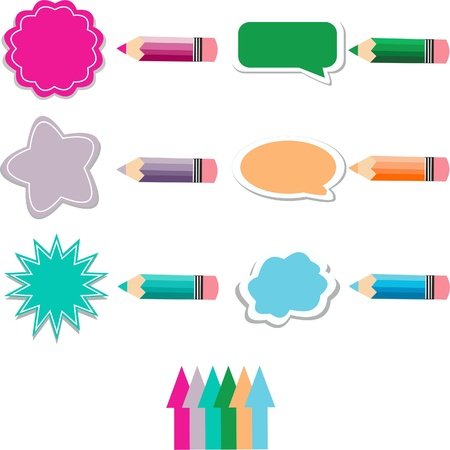 Colored pencils background,Thought bubbles in pastel colors,warm colors, coloring pencils Illustration
