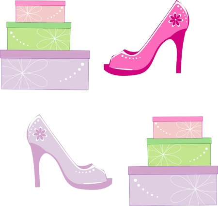 Mother s Day gift,colorful gift packs,Stylish shoes for mothers Illustration