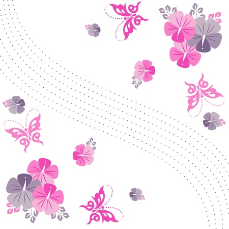 Flowers on a white background, floral seamless background, floral greeting card Illustration
