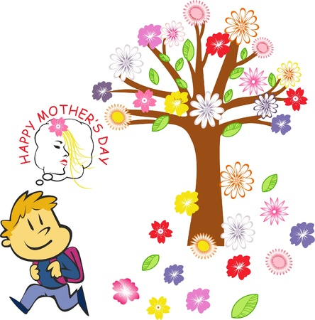 Child who presented flowers to his mother,flowers on the tree Stock Vector - 13517543