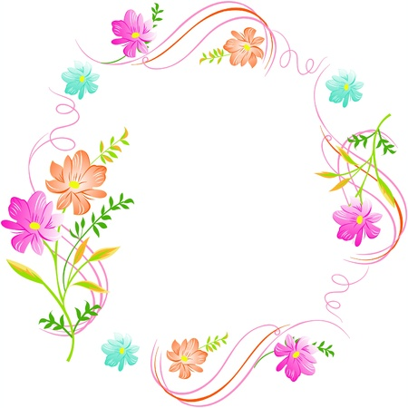 flower card: Flowers on a white background, excellent seamless floral background, floral greeting card,